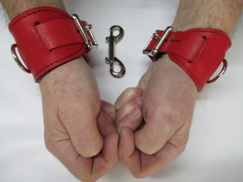 Pair of Red Top, Black Zebu Lined Leather Restraint Cuffs(2 Cuffs)